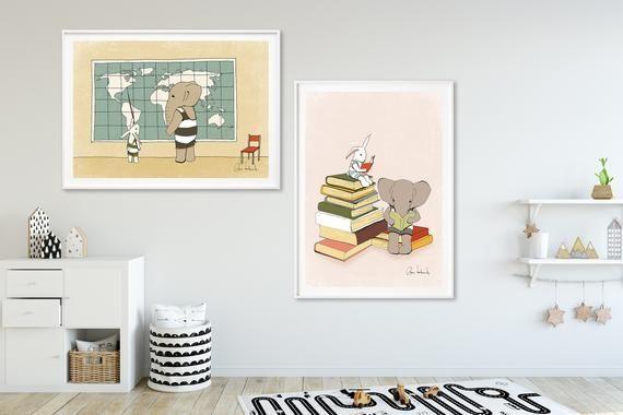 Satz Von 2 Kunstdrucken Kinderzimmer Drucken Poster Fur