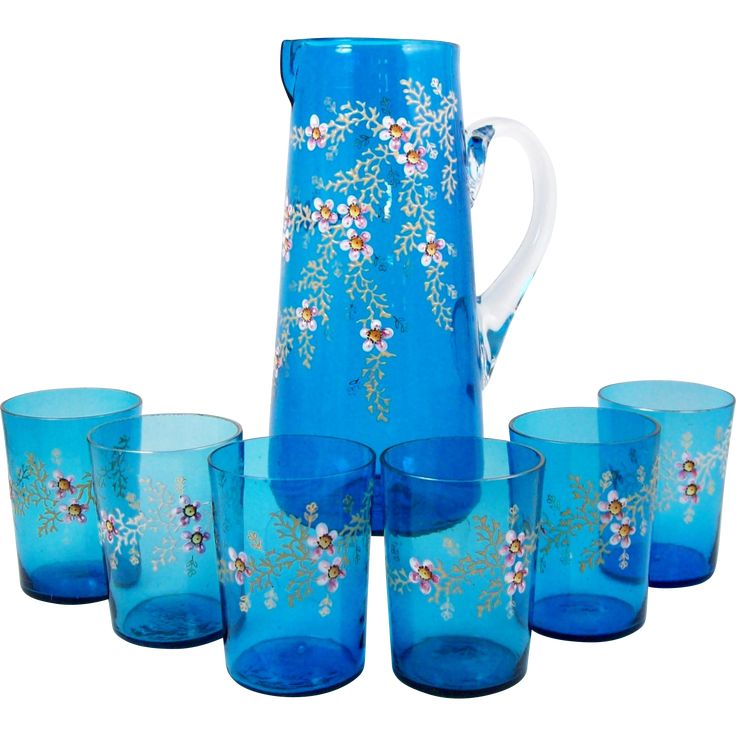#bestoftheday on www.rubylane.com @rubylanecom -- Antique Enameled Glass Pitcher with 6 Glasses Pink Flowers on Blue