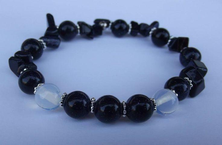 Blue goldstone with moon rock bracelet