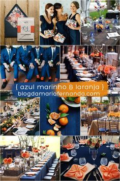 Decoração de Casamento : Paleta de Cores Azul Marinho e Laranja