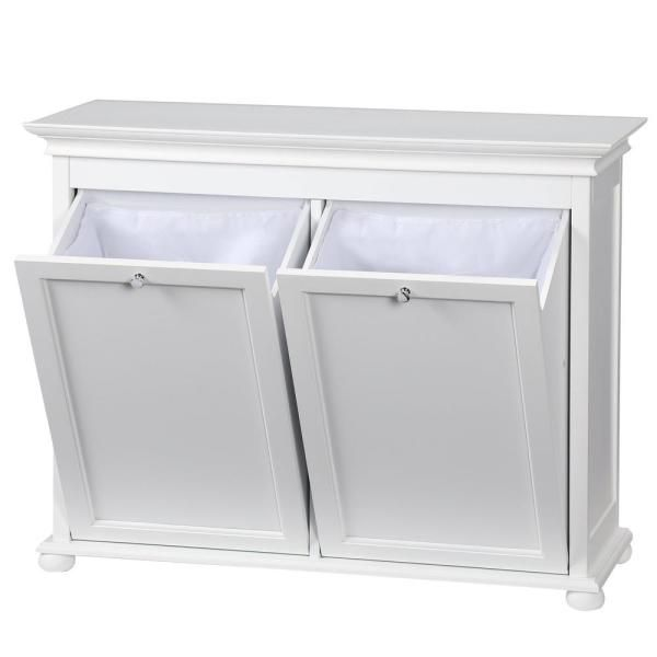 Home Decorators Collection Hampton Harbor 35 In Double Tilt Out Hamper In White Bf 20938 Wh The In 2020 Bathroom Laundry Baskets Tilt Out Hamper Laundry In Bathroom