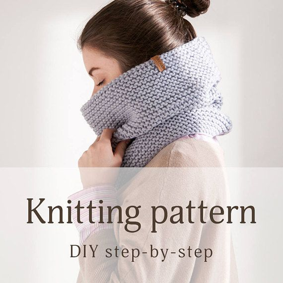 Gray Cowl Infinity Scarf Pattern for beginners Hooded scarf