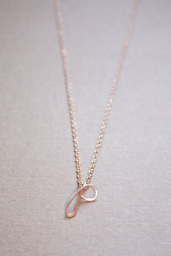 Letter P Necklace Silver Gold Rose Gold Initial by DiAndDe on Etsy