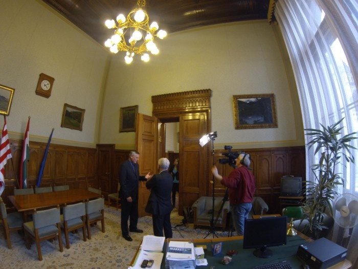 Jobbik's politician interviewed inside Hungarian Parliament.