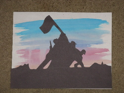 Teach contrast by making a silhoutete of the Iwo Jima Memorial.