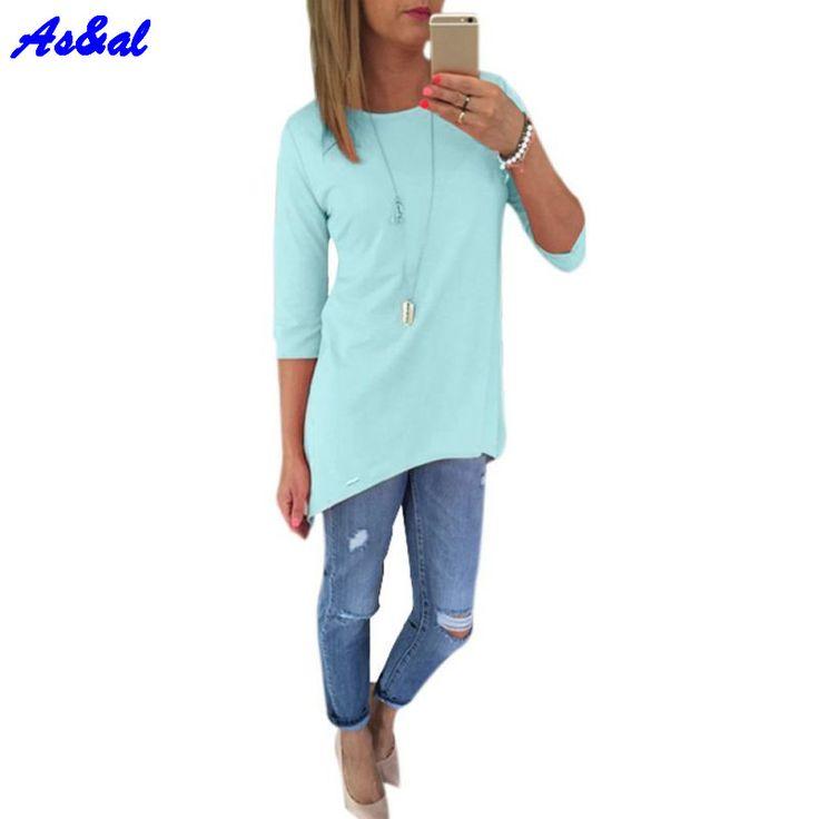 Women Candy Color Loose Office Blouse 3/4 Sleeve Long Shirt Ladies Beach BOHO Mini Dress Casual O Neck Tops
