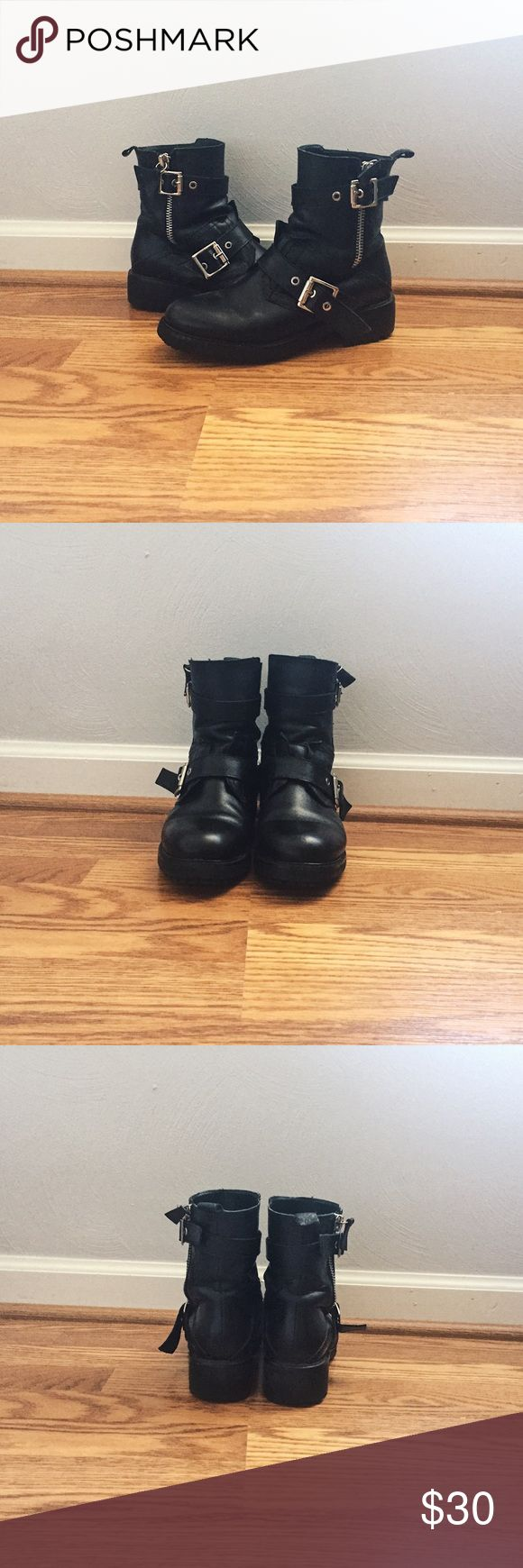 🆕 Zara genuine leather buckled biker moto boots Genuine leather. Marked women's European size 37,  so fits like US size 6.5. I wear a US women's size 6.5 in shoe brands like Vans, Nike, Converse, Timberland, & size US 6 in Doc Martens for reference. They