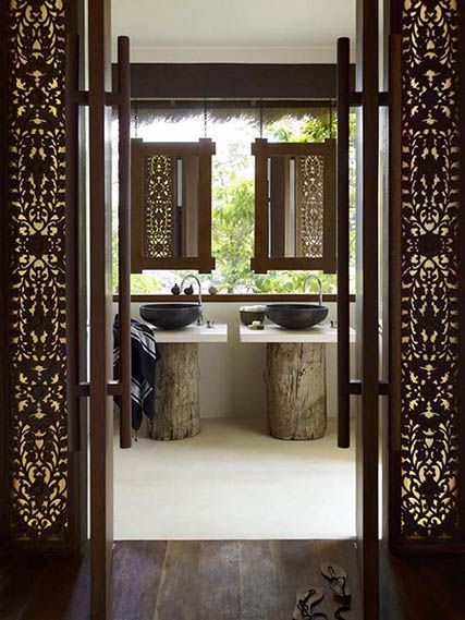WOOD DESIGN BLOG || BATHROOM VANITIES, SINKS & CABINETS || Beyond cabinetry wood has been used as cabinet, sink and vanity in contemporary bathroom design || Song Saa Private Island resort