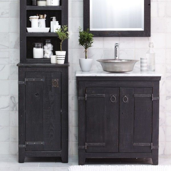furniture wondrous reclaimed wood furniture bathroom vanity in black paint finishes with stainless steel vessel sink alongside small white ceramic pots under wood framed mirrors