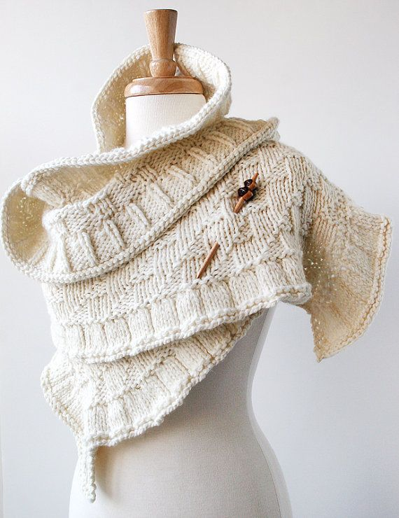 Women Fashion Accessories - Rococo Knit Shawl - Luxurious Merino Wool - Ivory Cream - Perfect for Brides and Weddings