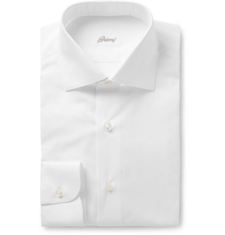 White Shirts:  Perhaps the perfect shirt from Brioni. A smooth poplin fabric with classic cutaway, perfect for a blue or gray suit in fine wool.
