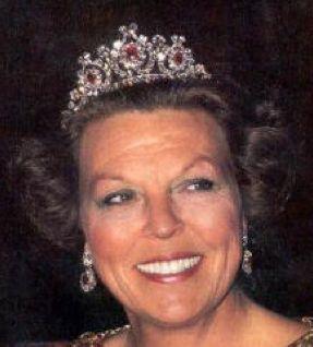 Queen Beatrix wearing Queen Emma's Diamond Tiara (ruby setting), The Netherlands (rubies, diamonds).
