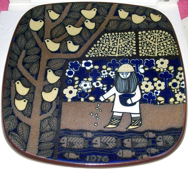 The Kalevala plates of Finland:  The picture shows Väinämöinen planting seeds in his flourishing garden, while birds are sitting in the trees and fishes are swimming below.