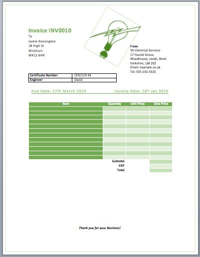 Image result for TAX INVOICE  TEMPLATE  FOR THE ELECTRICALS