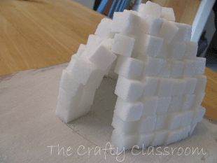 Igloo Craft for Kids. Add sugar cubes to arctic play sensory table to encourage children to build their own igloo in the snow.