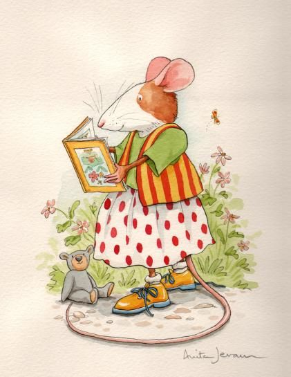 Anita Jeram, 'Contrary Mary'  --  'Contrary Mary reading in the garden.' -- From the book 'Contrary Mary' published by Walker Books Ltd in 2001