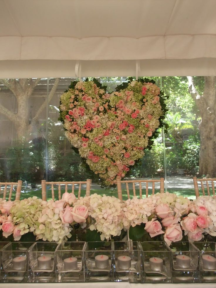 A stunning  heart of roses and hydrangea in pink and green hues suspended behind the bridal table. Flowers and styling by Victoria Whitelaw Beautiful Flowers.