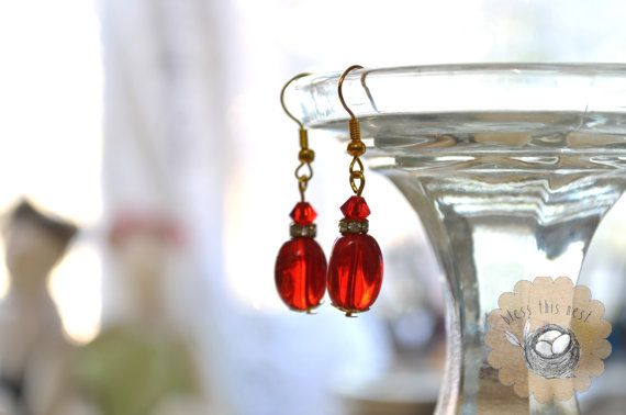 Red Glass Earrings with Gold Accents