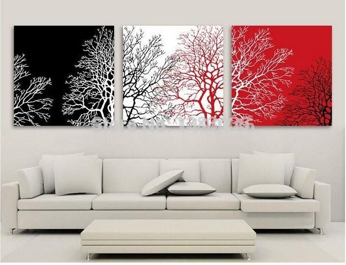Best Framed!! Hand Painted Tree Canvas Oil Painting Modern Abstract Black White And Red Wall Art+Ems Ship Under $207.73 | Dhgate.Com