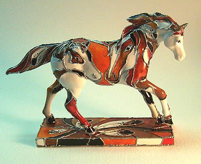 LYNN BEAN ART GALLERY and STORE: ART, APPAREL, FIGURINES and JEWELRY for sale by Trail of Painted Ponies™ Artist, LYNN BEAN : HORSES DIMENSIONAL (FIGURINES) : STAINED GLASS PONY ORIGINAL