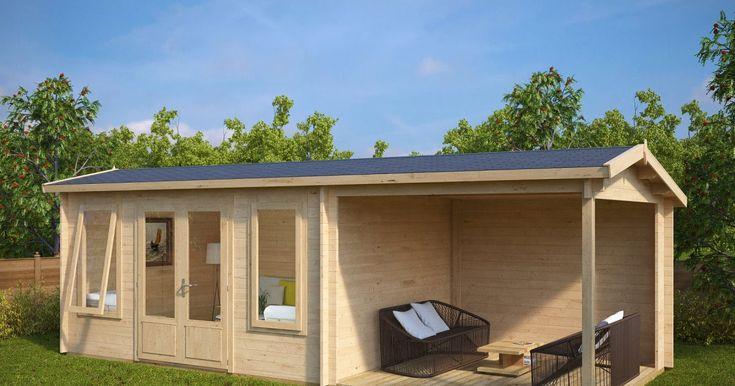 Holz Gartenhaus Mit Terrasse Eva D 12m 44mm 3x7 Gartenhaus Fenster Holz Elegant Und Perfekt Gartenhaus Garten Fenster Holz Gartenhaus Gartenhaus Mit Terrasse