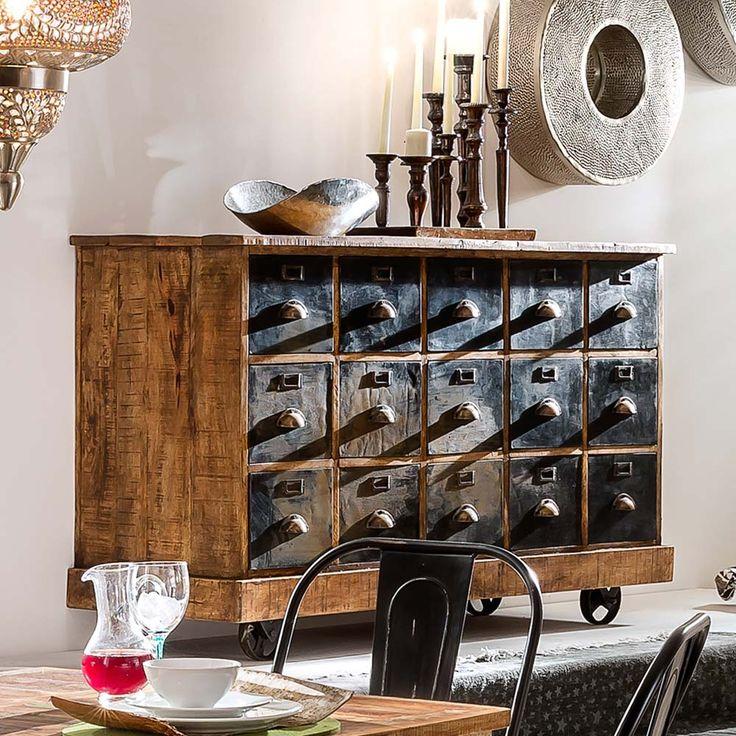 Schubladen Sideboard im Loft Design mit Rädern Jetzt bestellen unter: https://moebel.ladendirekt.de/wohnzimmer/schraenke/sideboards/?uid=ee2c9f43-498c-5473-a82f-9ea187cf2082&utm_source=pinterest&utm_medium=pin&utm_campaign=boards #sidebord #vollholz #schraenke #wohnzimmerschrank #holz #apothekerkommode #große #massiv #küchenkommode #schrank #echtholz #sideboard #massivholz #wohnzimmer #sideboards #kommode #esszimmer