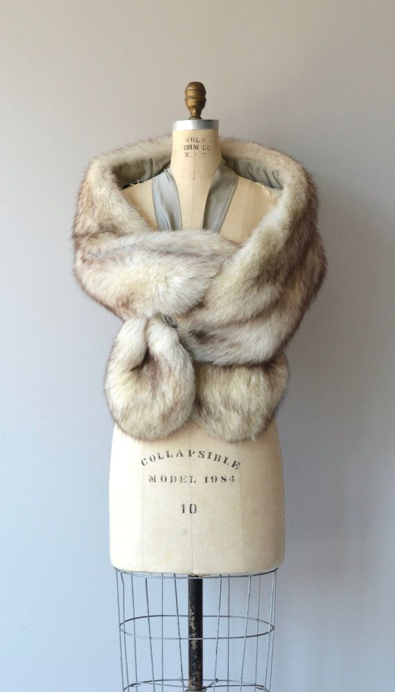 Stunning and rare vintage 1950s luxe Norwegian fox fur stole, extra long with silver silk lining and silk shoulder straps to secure when wearing.