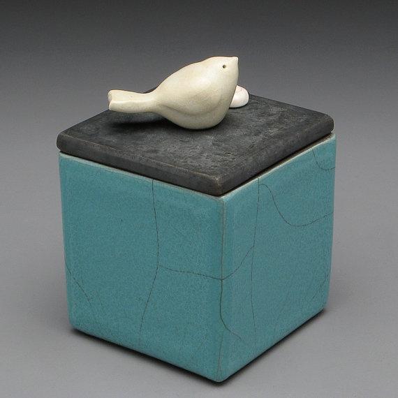 Turquoise Ceramic Box with bird  Turquoise Raku by DavisVachon, $79.00