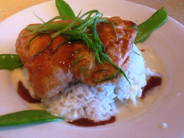 The Cheesecake Factory's Miso Salmon Recipe Main Dishes with brown sugar, soy sauce, hot water, miso, salmon fillets, butter, ginger paste, garlic, sake, heavy cream, butter, lime, broccoli, snow peas, carrots, jasmine rice