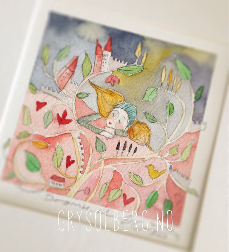 #illustration #watercolor #artwork #exhibition #sleep #pink #sweet #gift #grysolberg