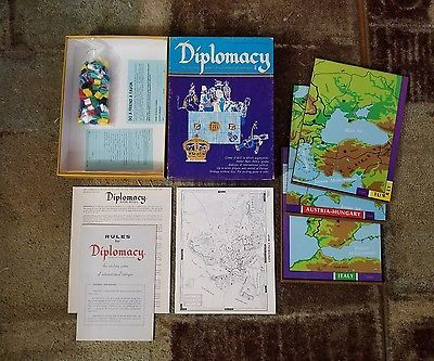 Avalon Hill Diplomacy Board Game 1976 Complete with 112 Markers Rules Board Maps