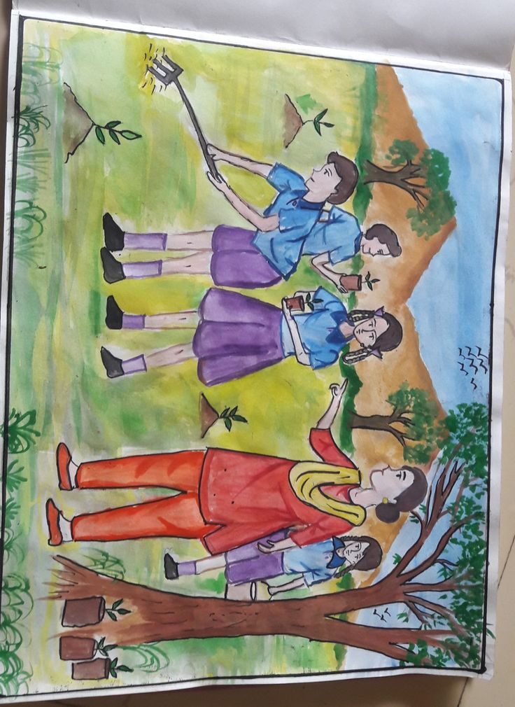 Tree plantation drawing for kid's