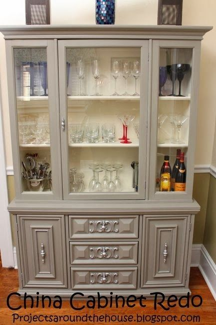China Cabinet Redo. Like this grey chalk paint.