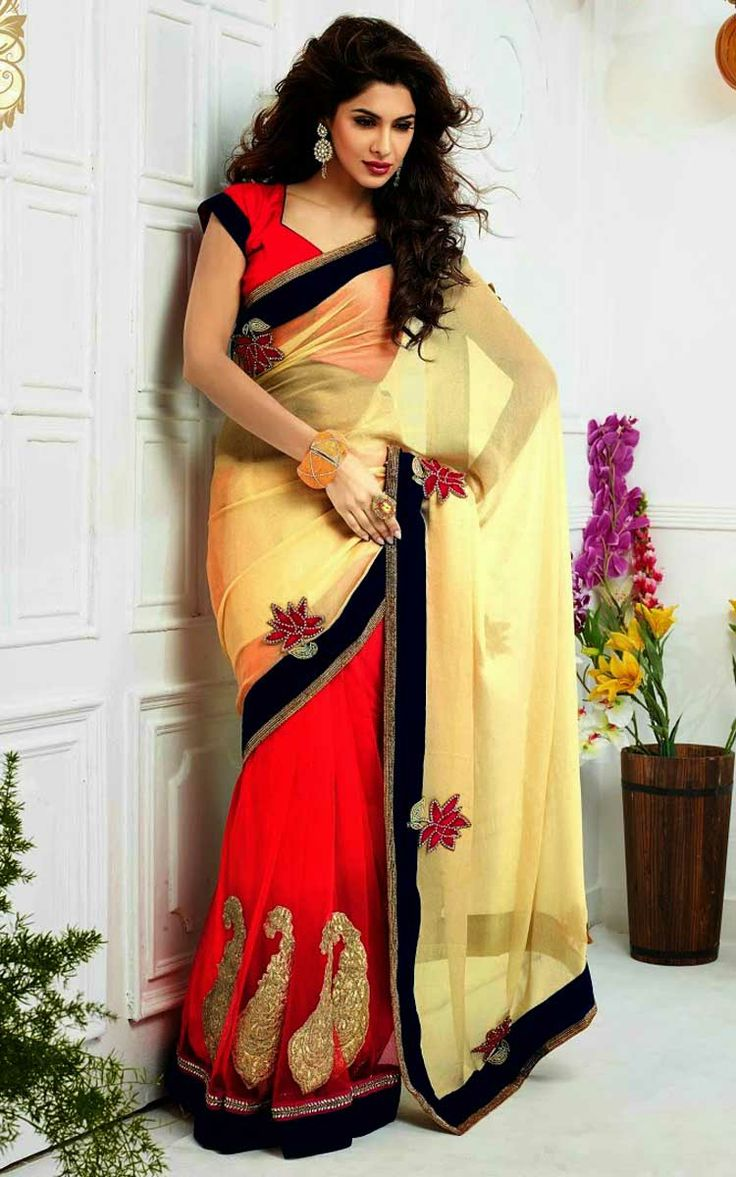 CREAM & RED FAUX GEORGETTE LATEST SAREE - SKY 1003