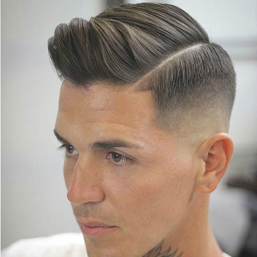 High Bald Fade with Hard Side Part