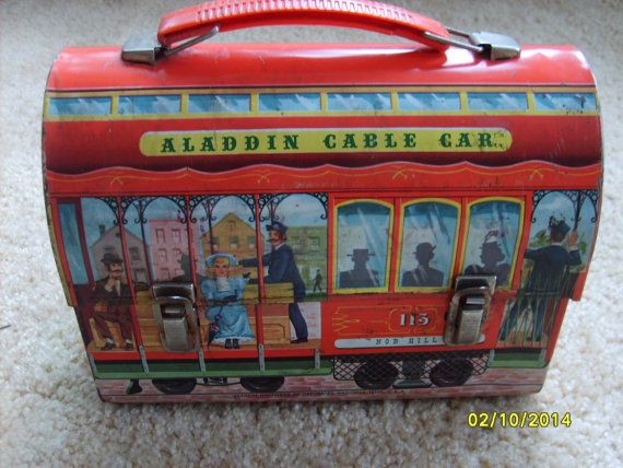 Vintage Aladdin Metal Lunch Box,  Cable Car Lunch Box, San Francisco Nob Hill Collectible Aladdin Lunch Box,Domed Metal Lunch Box