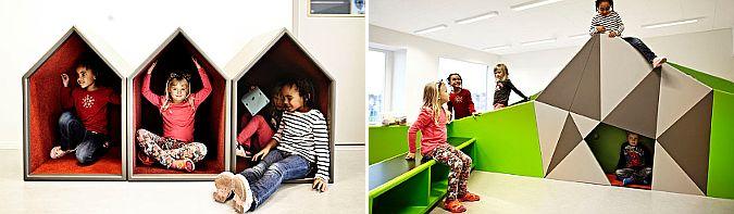 entornos de aprendizaje, paisajes lúdicos – vittra school brotorp Vittra School Brotorp, Brotorp – Sweden (2012). Diseño, Rosan Bosch. Fotografías, Kim Wendt.  Acorde con los criterios pedagógicos de las escuelas Vittra, el proyecto resuelve el diseño de las áreas de uso común. http://blog.bellostes.com/?p=28019