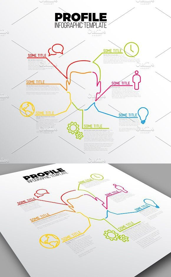 Thin Line Profile Infographic Templ. #infographic #template
