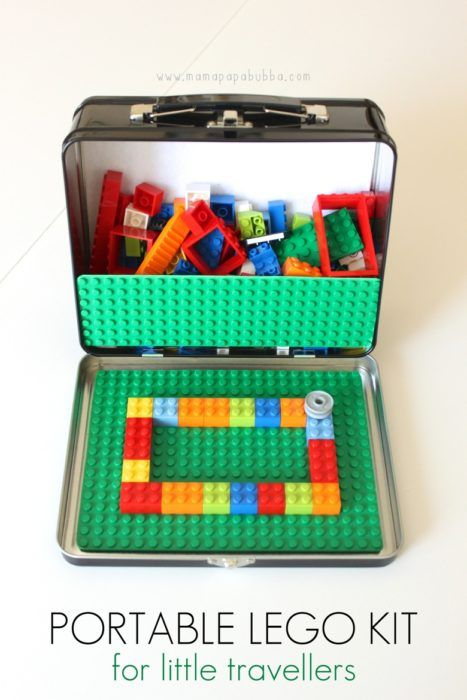 Portable Lego Kit This is the perfect DIY gift for a kid, especially if they are headed on a car trip or camping trip. Legos are fun, and this is the best way to play with them on-the-go.