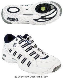 K-Swiss Women's Ultrascendor (White/Navy/Silver), Size 8 by K-Swiss. $84.99. 2003 Tennis Magazine Editors Choice!Lightweight. Ideal for the competitive tennis player who wants lightweight and durable footwear.The Ultrascendor combines performance features with lightweight materials and design elements that minimize the weight of the shoe. From the skeletalized outsole with exposed EVA to the unique design of the Cushion Board, each feature of the Ultrascendor w...