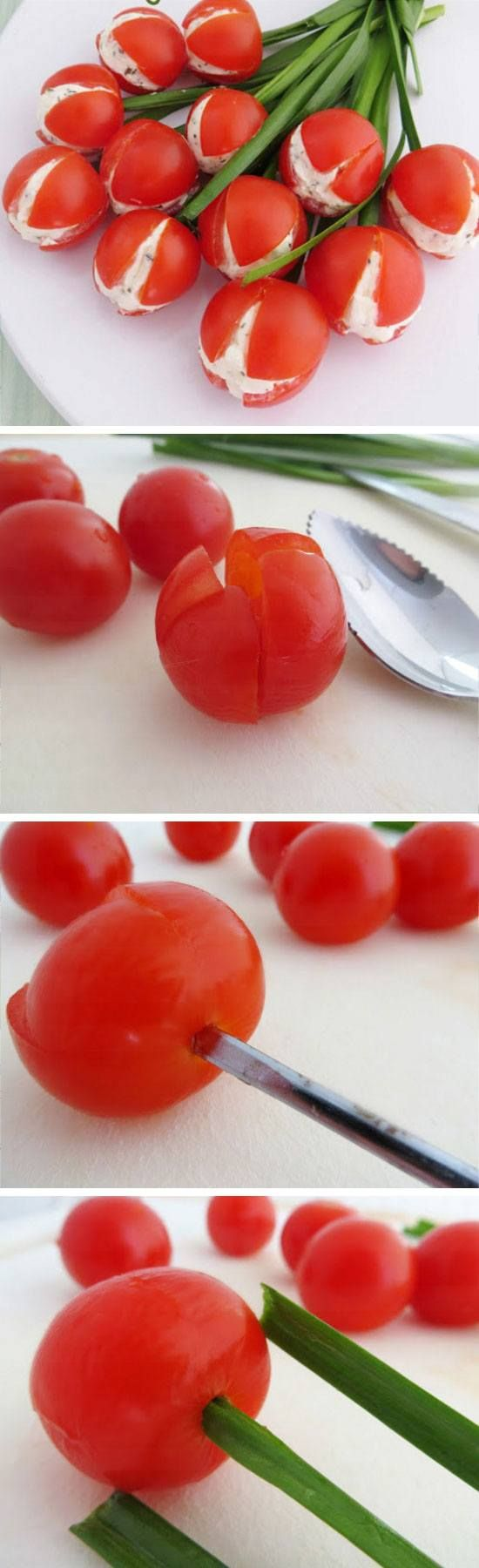 Cream Cheese Stuffed Cherry Tomato Tulips | Easy Easter Appetizers for ...