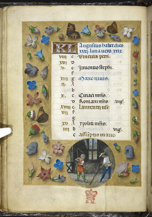 August 1 - the Huth Hours, Netherlands (Bruges or Ghent?), c. 1480 - British Library, Add MS 38126, f. 8v http://www.bl.uk/manuscripts/Viewer.aspx?ref=add_ms_38126_fs001r