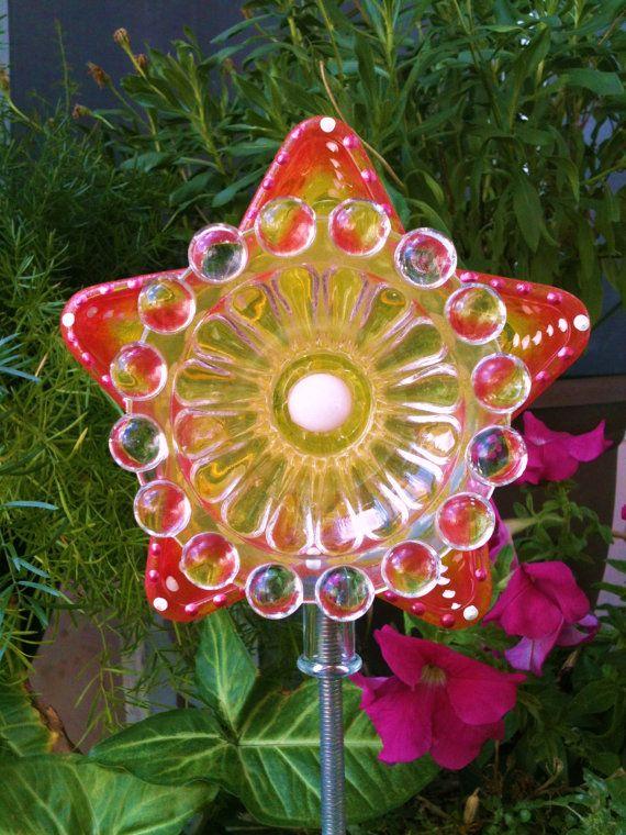 Garden Decor Glass Plate Flower For Your Garden By Pollysyardart, $22.00