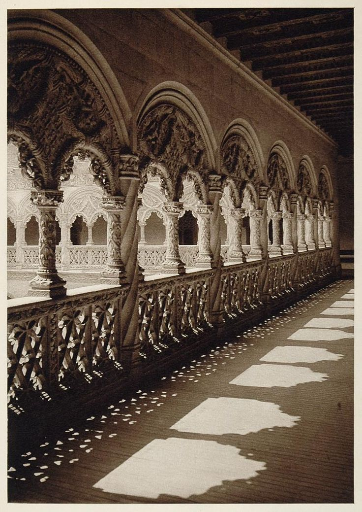 1925 Gallery San Gregorio Valladolid Spain Plateresque - ORIGINAL PHOTOGRAVURE