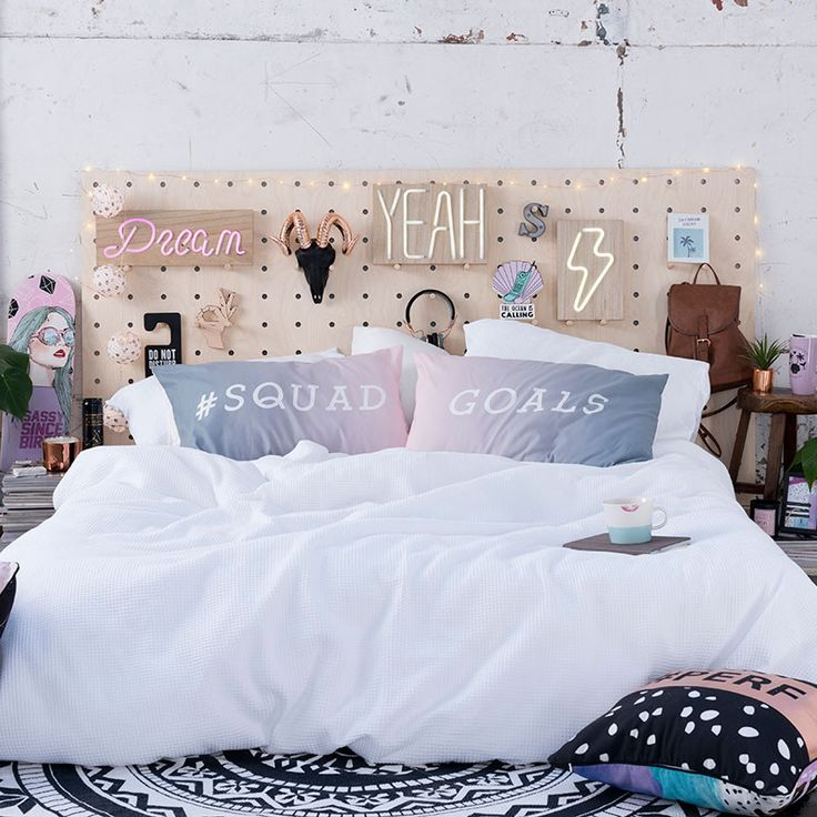 Room goals: bedroom design, girls bedroom, bedhead, cushions, pillows