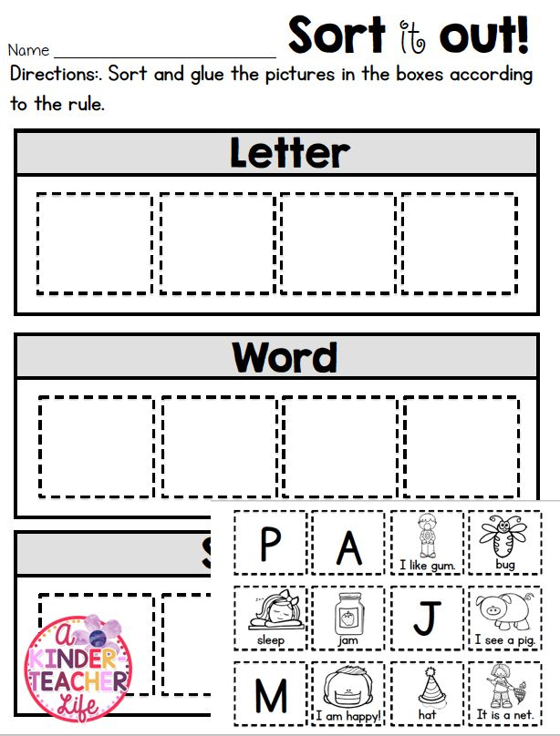 letter word sentence sort tpt free lessons pinterest