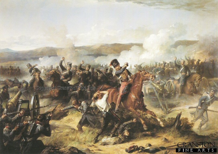 Charge of the Light Brigade by Thomas Jones Barker. Depicting Lord Cardigan (centre figure) amongst the Russian guns with the 13th Light Dragoons and 17th Lancers, other regiments in the charge of the Light Brigade were, 11th Hussars, 4th Light Dragoons and the 8th Hussars during the Battle of Balaclava in the Crimean War.