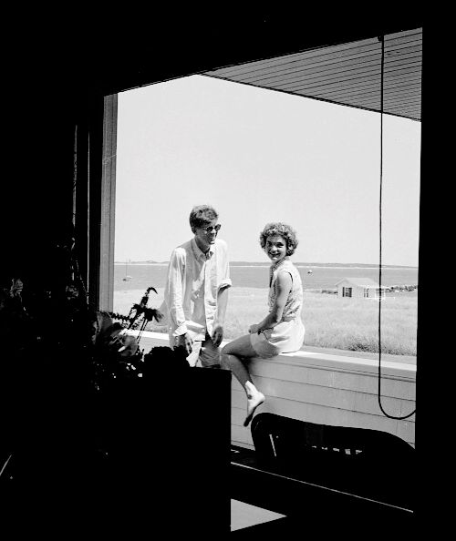 """thrillers: """""""" HYANNIS PORT, MA - JUNE 1953: Senator John F. Kennedy and fiance Jacqueline Bouvier on vacation at the Kennedy compound in June 1953 in Hyannis Port, Massachusetts. (Photo by Hy..."""