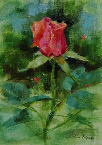 """Pink Rose Bud"" - Original Fine Art for Sale - © Donna C Farrell"