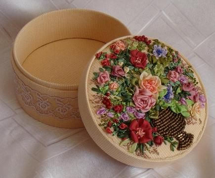 Ribbon embroidery, embroidered box for jewellery